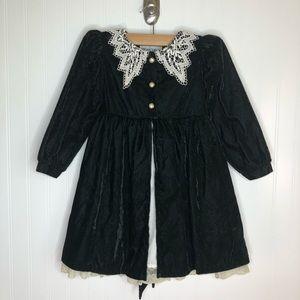 Vintage 80s Victorian Style Green Velvet Dress 6